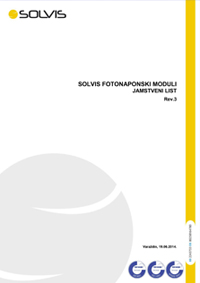SOLVIS fotonaponski moduli, jamstveni list